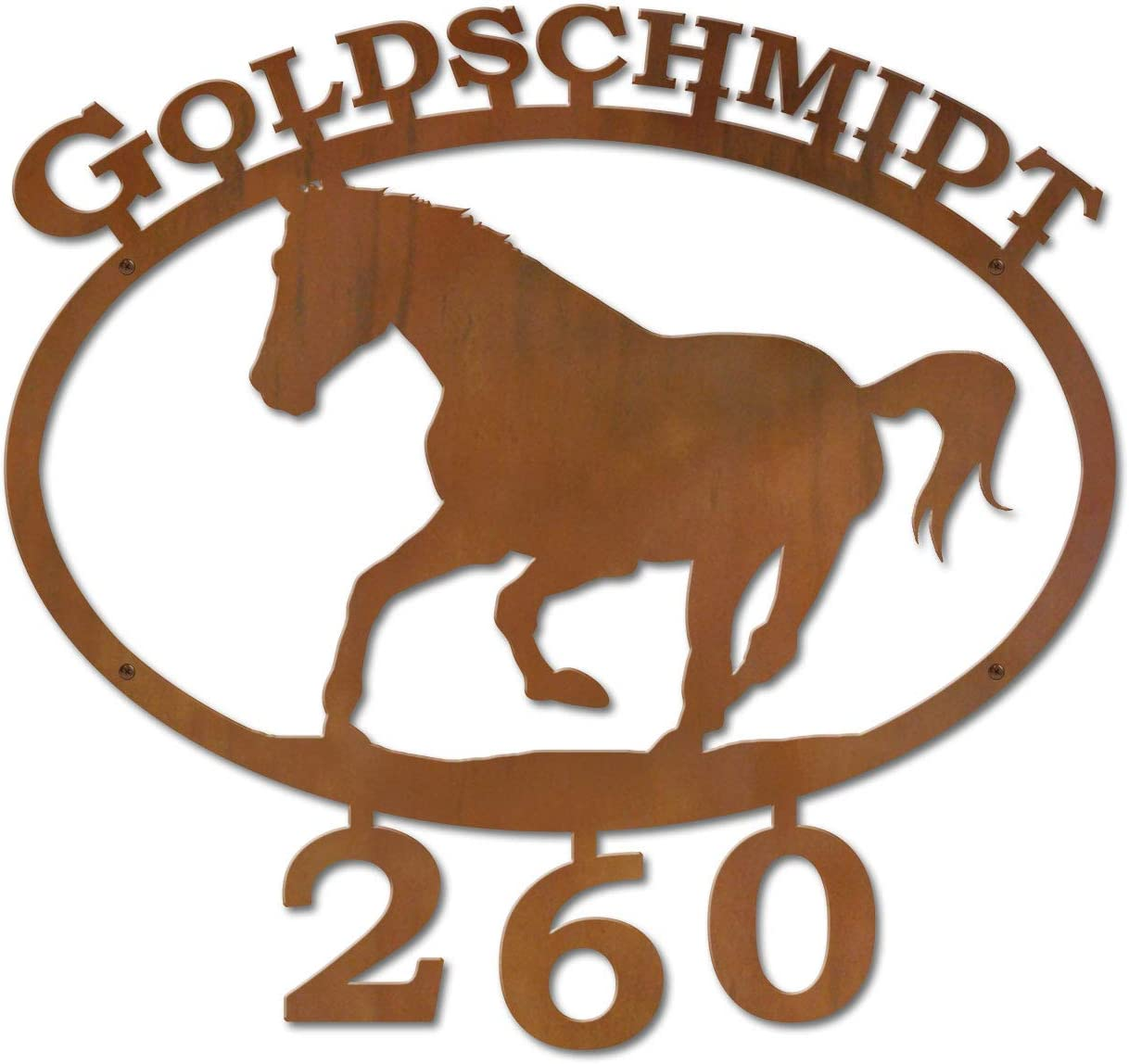 Rust Metal Finish Cold Nose Creations 22in Oval Steel Address Name and Numbers Sign Western Decor Running Horse Made in USA