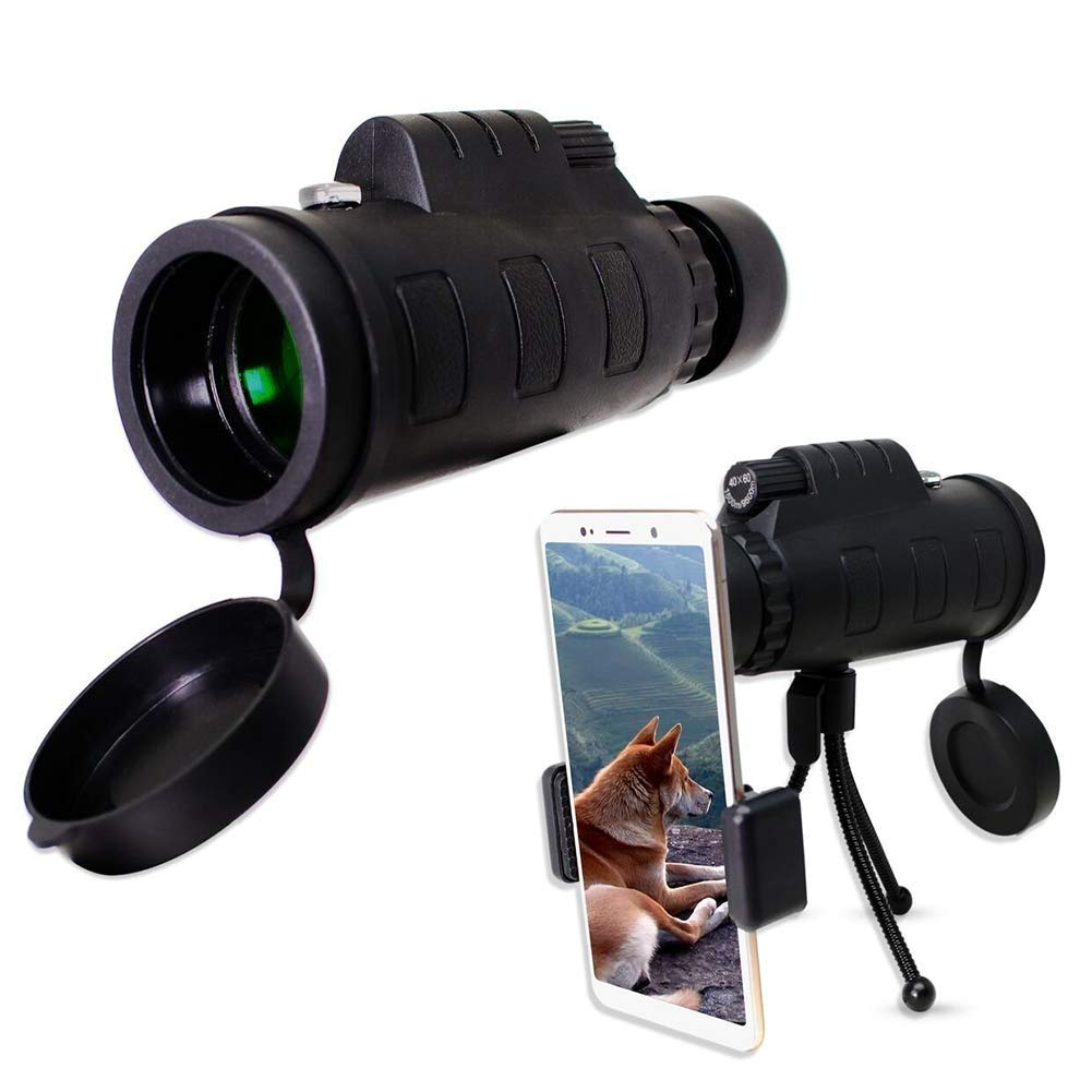 EAHKGmh Monocular Telescope 40x60 Waterproof Compact Scope, HD Focus BAK4 Prism Lens with Phone Tripod Quick Smartphone Holder Single Hand Focus for Bird Watching by EAHKGmh