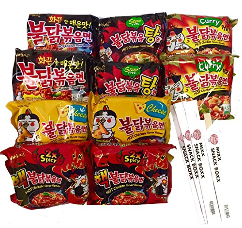 Samyang Hit Spicy Chicken Hot Ramen noodle Buldak Variety 10 pack (2 each:Hek Nuclear,Original,Cheese,Curry,Stew Type) + (4) Mixx Snack Boxx Chopstick