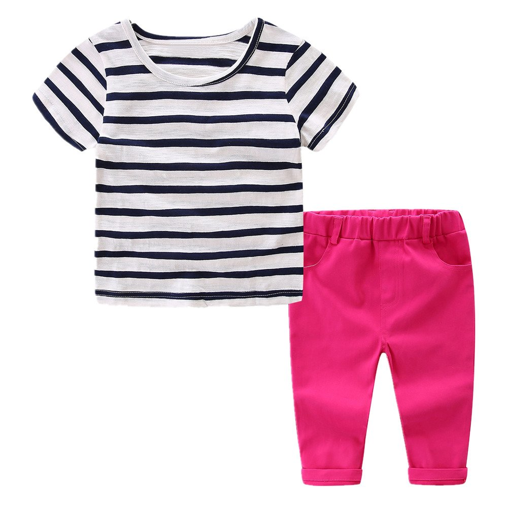 LittleSpring Little Girls Cropped Pants Set Striped