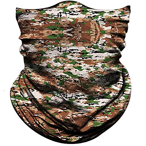 Obacle Half Face Mask for Hunting Fishing Motorcycle Running Outdoor Sport, Sun Dust Wind Protection Durable Lightweight Thin Breathable Tube Mask for Men Women Camo Mask Camo Brown Green
