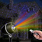 Christmas Laser Lights,Outdoor Projector lights with Remote Control by Clustars ,IP65 Waterproof,Red ,Green and Blue Laser Light Show Garden Spotlight For Xmas Holiday Party Landscape Decoration