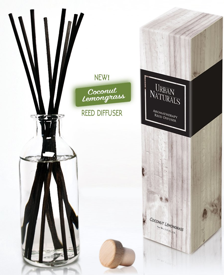 Urban Naturals Coconut Lemongrass Home Fragrance Reed Diffuser Oil Set | Tropical Blend of Lemongrass, Fresh Limes & Sweet Coconut Milk | Great Home Gift Idea! Vegan. Made in The USA by Urban Naturals (Image #4)