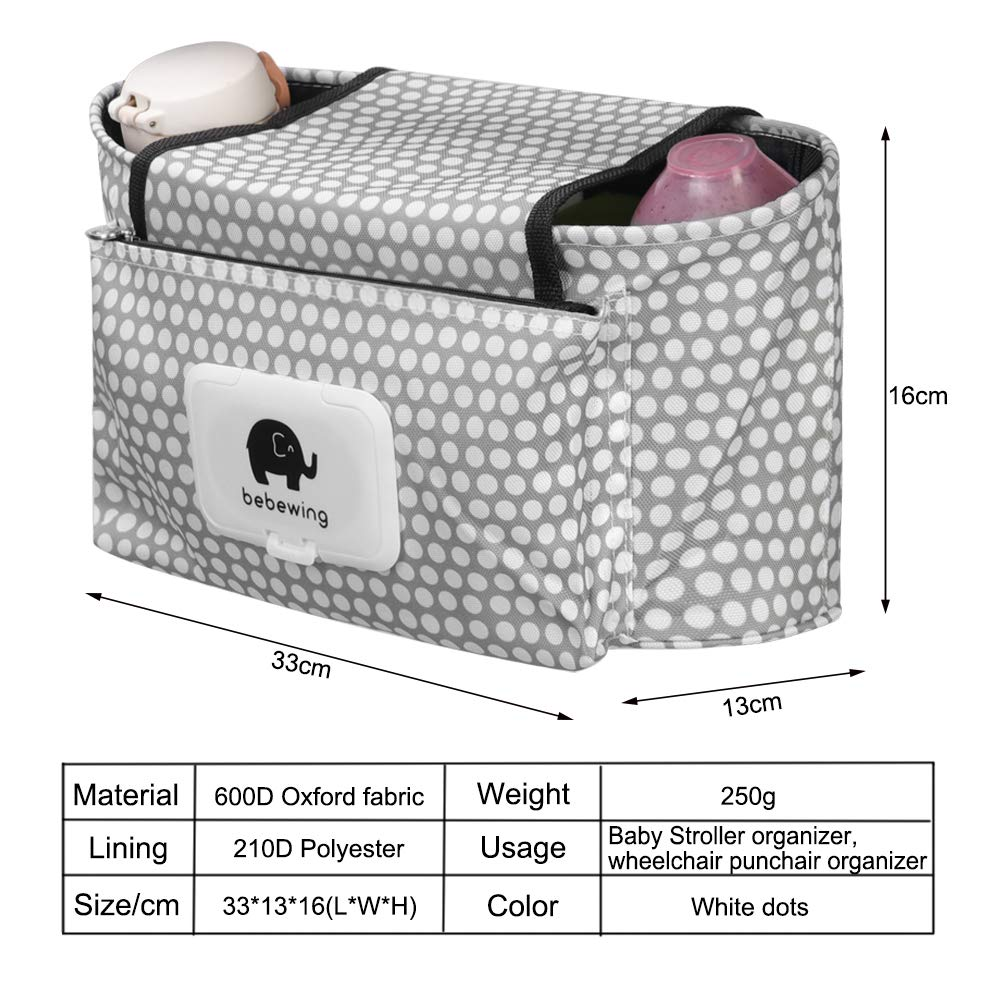 Stroller Organizer Baby Buggy Pram Bag Diaper Storage Organizer Multifunction Stroller Bag with Cup Holder Large Capacity fit for Universal Stroller accessories by AENMIL Green Dog