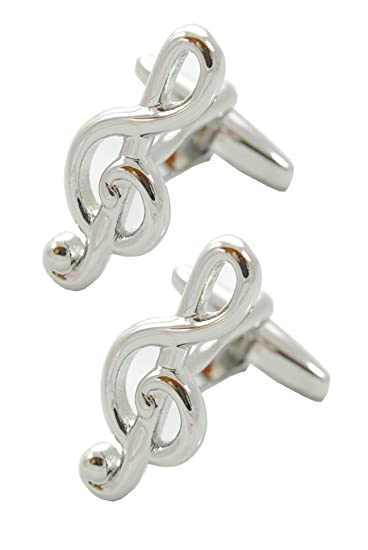 Solid Brass Silver Color COLLAR AND CUFFS LONDON Music Teacher Singer Player Violin Piano Instrument DJ Treble Clef Musical Premium Cufflinks with Gift Box