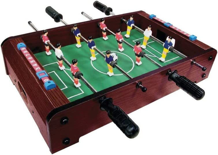 Mini SOCCER FOOSBALL Tabletop Game w// 2 balls wood grain finish score board NEW
