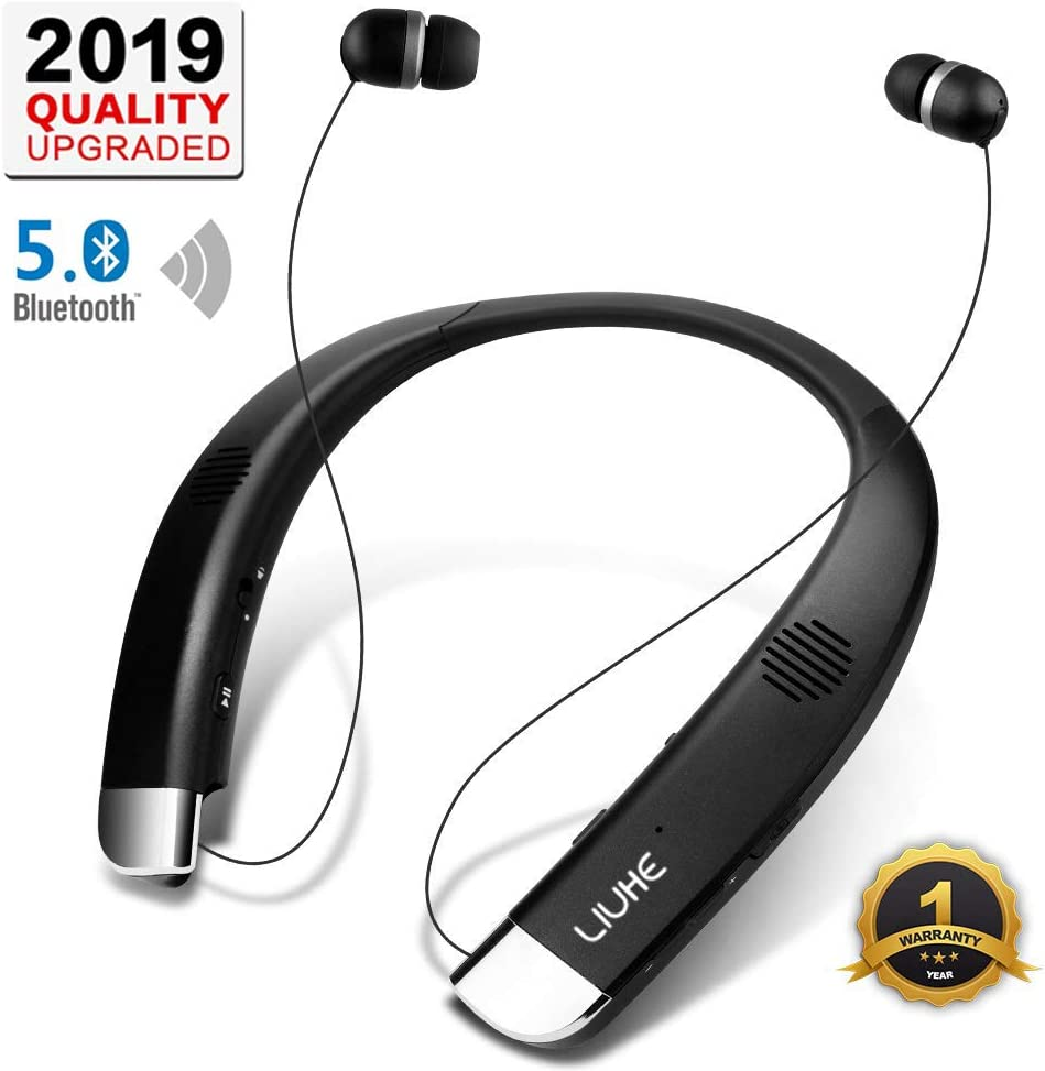 [Newest V5.0] Bluetooth Headphones Speaker 2 in 1,LIUHE Neckband Portable Wireless Headset Wearable Speaker True Stereo Sound Sweatproof Headphones with Retractable Earbuds Built-in Microphone