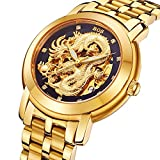 BOS Men's Automatic Self Wind Mechanical Gold Skeleton Dragon Dia Stainless Steel Waterproof Watch 9007