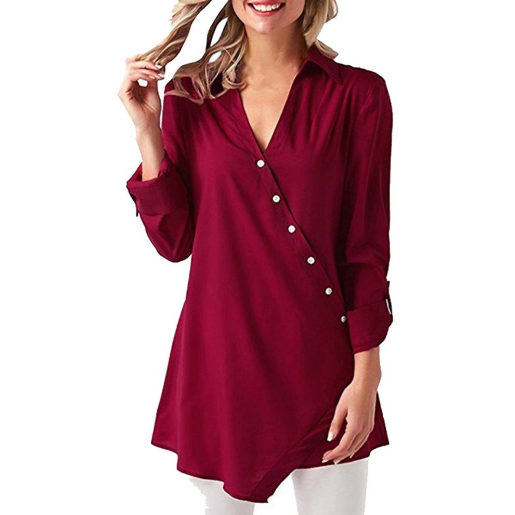 kingfansion Women Button Wrap Shirt Top Long Sleeve V-Neck T Shirts Tunic Blouse kingfansion women top