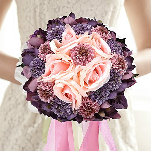 Bejeweled Wedding Bridal Holding Bouquet, Purple & Pink Silk Flowers with Rhinestones Center (Carnation Wedding Centerpieces)