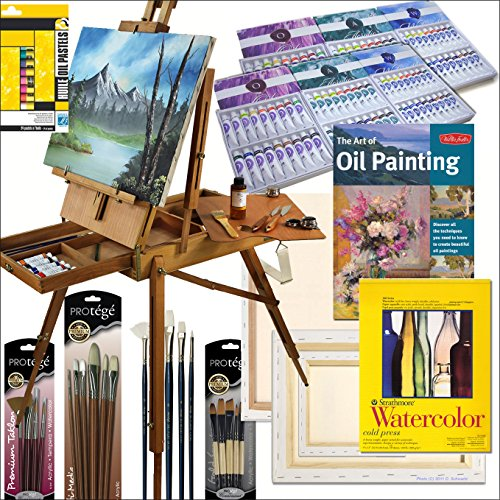 HARDWOOD FRENCH ARTIST EASEL WITH ART SET, SPECIAL EDITION COMPREHENSIVE, ALL MEDIUM, ARTIST QUALITY, PAINTING SUPPLIES SET: Includes: (108) Paint Tubes of Oil, Acrylic, and Watercolor, (6) Stretched Canvases, (4) Art Quality 'Connoisseur' Brush Sets, Wat by Online Art Supplies