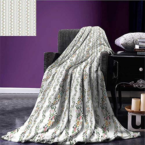 (homehot Garden Art Cozy Flannel Blanket Botanical Flourishing Ivy Pattern with Fresh Vibrant Spring Leaves and Flowers Print Summer Quilt Comforter Multicolor Bed or Couch 62
