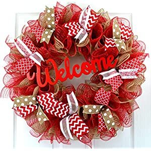 Mother's Day Gift | Jute burlap everyday year round welcome wreath; red white brown 64