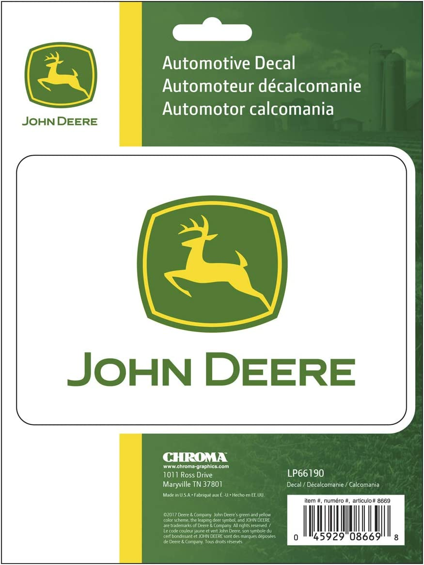 """2 JOHN DEERE LOGO DECAL STICKER Motorcycle TRUCK Shipped and Made in USA 4/"""""""