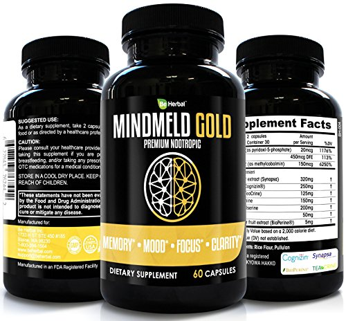 BE HERBAL MindMeld Premium Nootropics Supplement for Memory, Focus, Clarity and Mood, Contains Cognizin CitiColine, Synapsa Bacopa Monierri, TeaCrine, L-Theanine, L-phenylalanine, PS & Vitamins Review