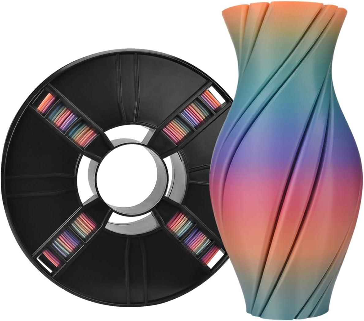 Filament PLA 1.75mm arc-en-ciel multicolore, filament multicolore ERYONE PLA 1.75mm, filament d'impression 3D PLA pour imprimante 3D et stylo 3D, 1 kg 1 bobine