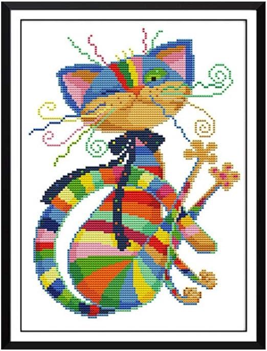 Stickerei Kreuzstich mit farbigen F/äden Baumwolle Tuch Nadel Zeichnen DIY handgefertigt Stickerei Starter-Set f/ür Erwachsene Anf/änger l/ändliche Stickerei Set