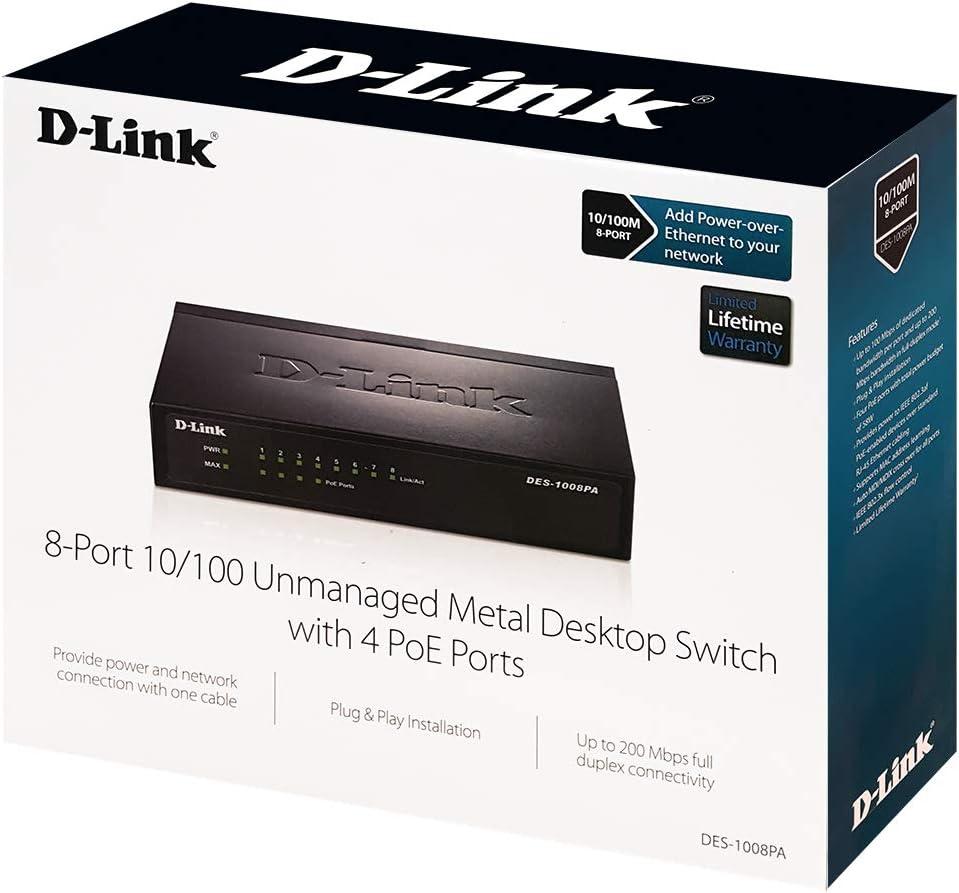 DES-1008PA Desktop Network Internet 10//100 Plug n Play 8 Port Unmanaged w// 4 PoE Ports 802.3AF D-Link Fast Ethernet Switch