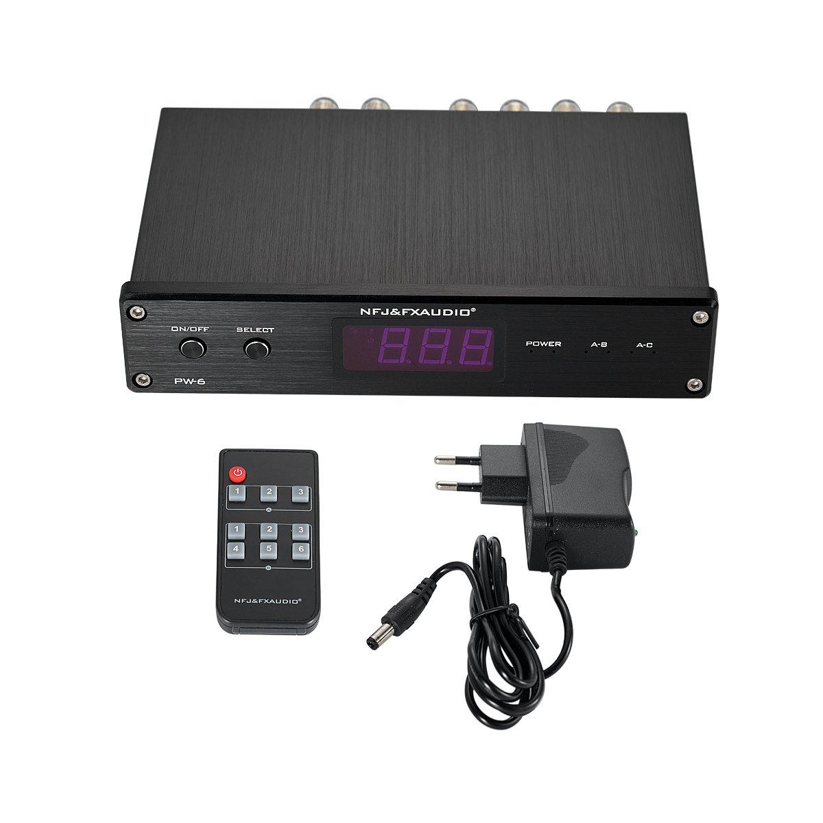 Nobsound Hi-Fi 2-Way Audio Crossover Speakers//Amplifiers Switcher Splitter Selector with Remote Control /& LED Display /& Power Supply Verst/ärker Verteiler Umschalter Splitter