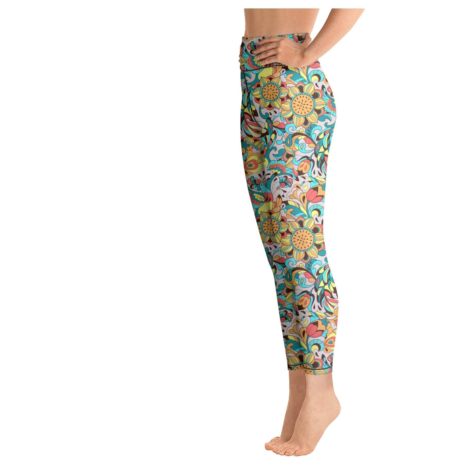 Womens Workout Running Legging Bird Phoenix and Sunflower Colorful Tummy Control Yoga Pants Athletics