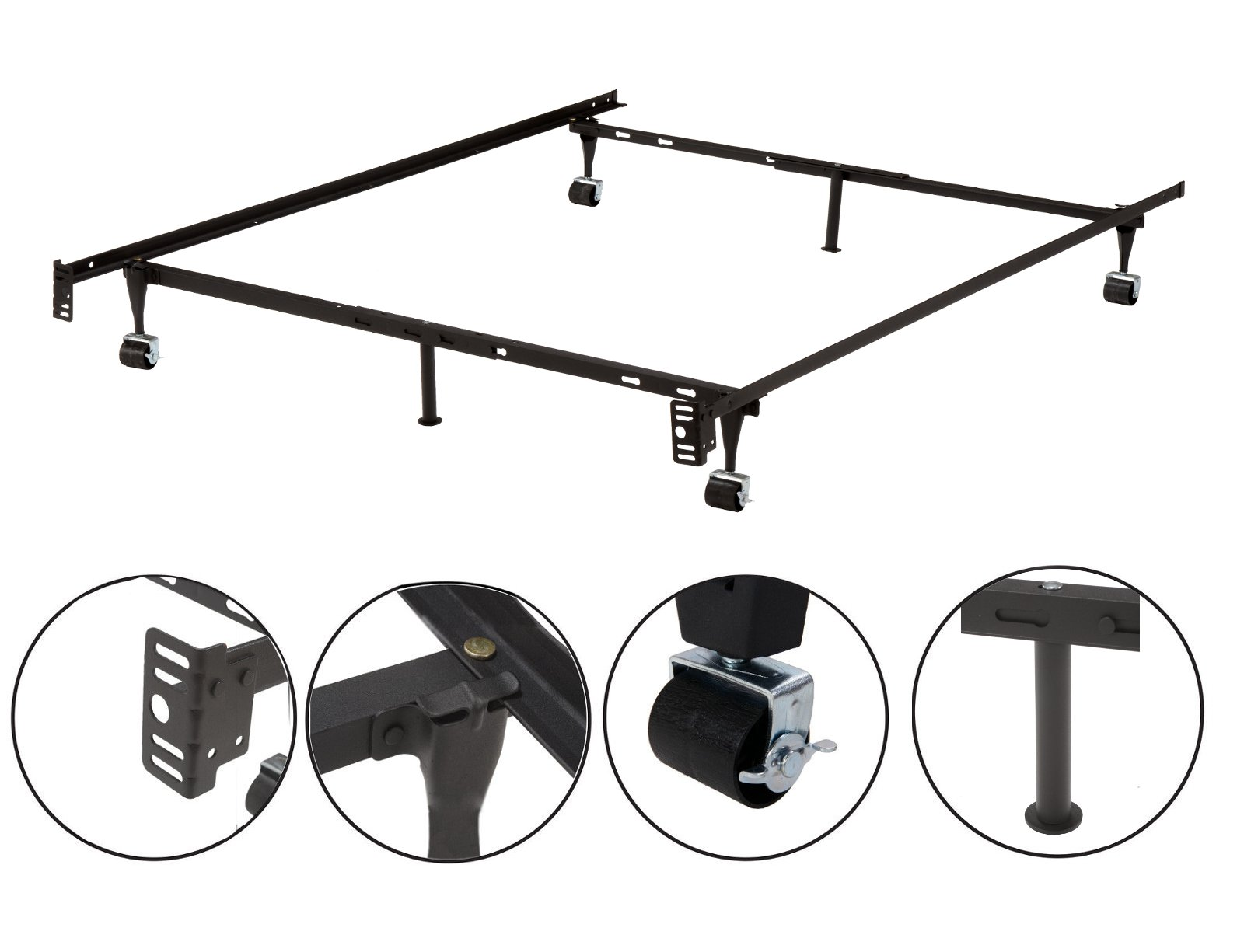 6-Leg Heavy Duty Adjustable Metal Queen, Full, Full XL, Twin, Twin XL, Bed Frame with Rug Rollers & Locking Wheels
