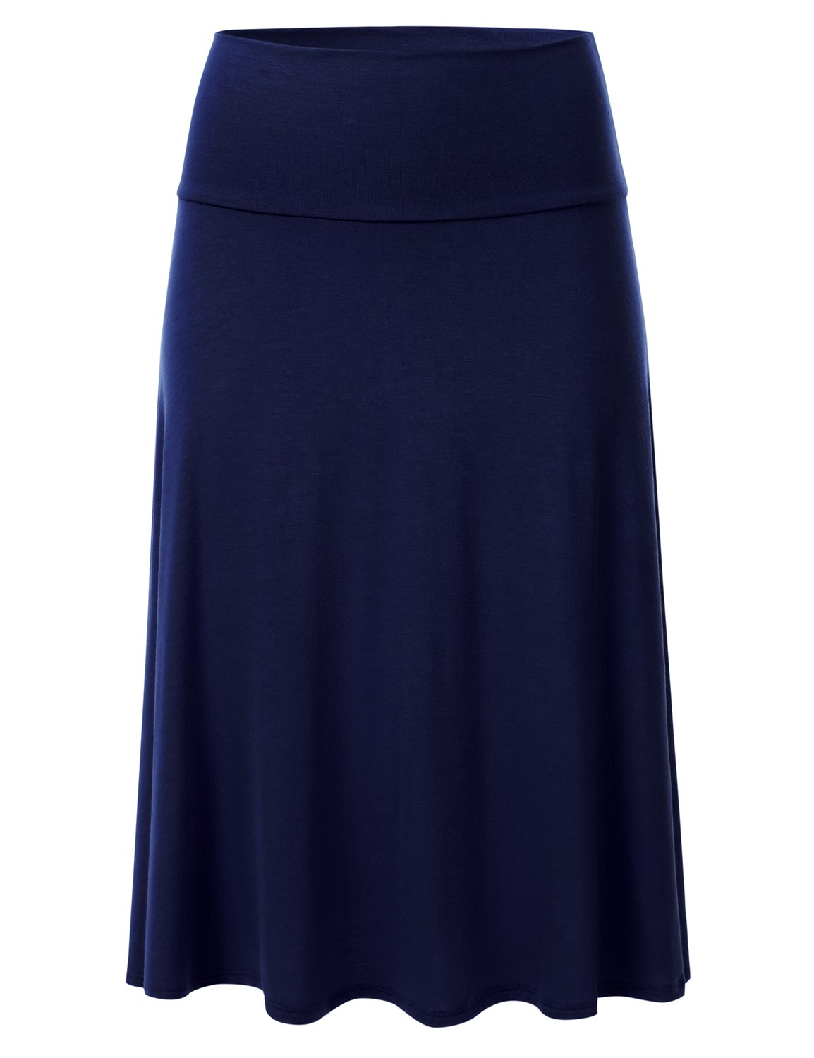 FLORIA Womens Solid Lightweight Knit Elastic Waist Flared Midi Skirt Navy S