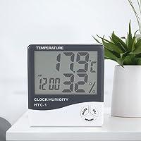 Fdit Termómetro Monitor de Humedad Monitor de Temperatura Interior LCD Display Higrómetro Inalámbrico con Reloj Despertador