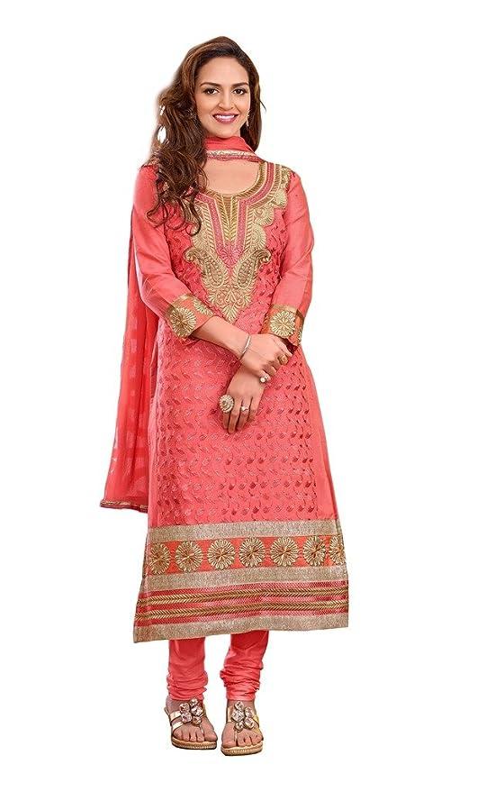 Shree Vardhman Women's cotton unstitched Straight Salwar Suit dress material(BMAYESHA05,Gajri) Dress Material at amazon