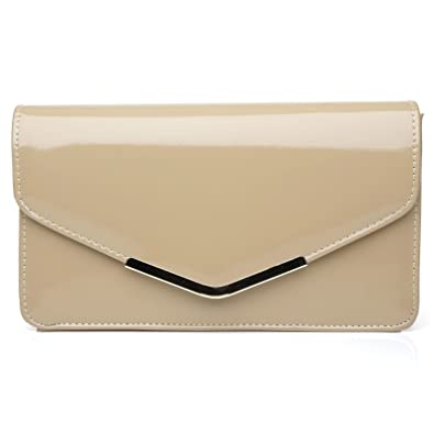ca7dc9c30d LUCKY Dark Nude Patent PU Leather Medium Size Clutch Bag: Amazon.co.uk:  Shoes & Bags