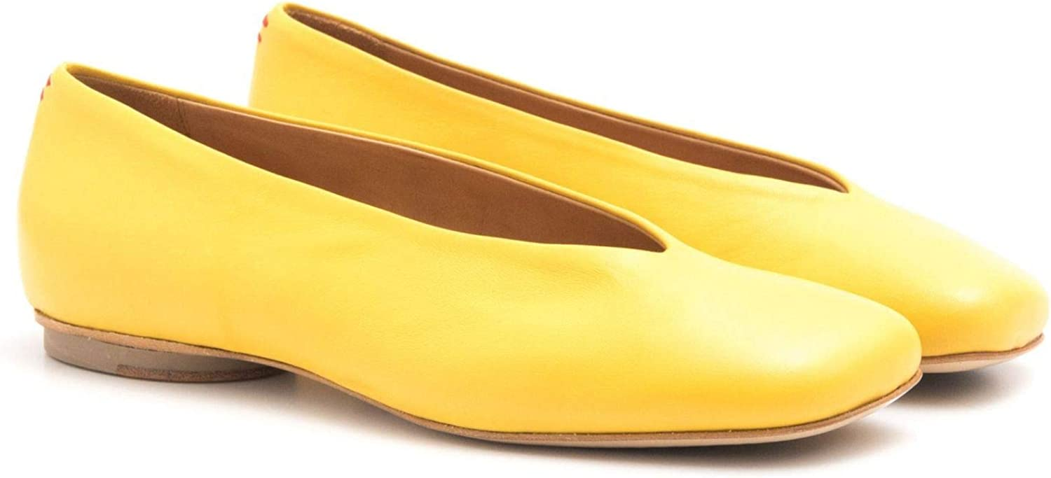 HALMANERA - Yellow Soft Leather Odette 01 Flat Shoes - Odette 01BARON Giallo Gelb