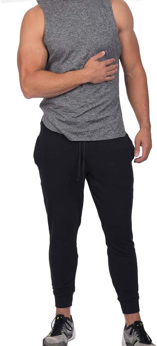 Fllay Mens Running Sports Elastic Waist Drawstring Zipper Jogger Long Pants