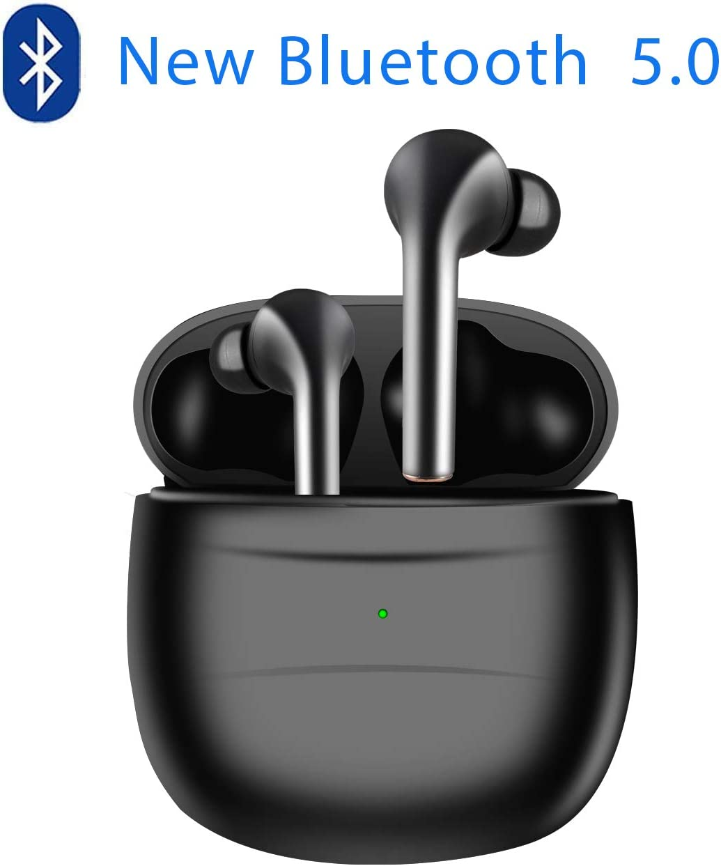 2020 New blackpods Bluetooth Wireless Headset, Bluetooth 5.0 Headset, Touch Control, with Charging Box, in Ear Sports Bluetooth Headset Black