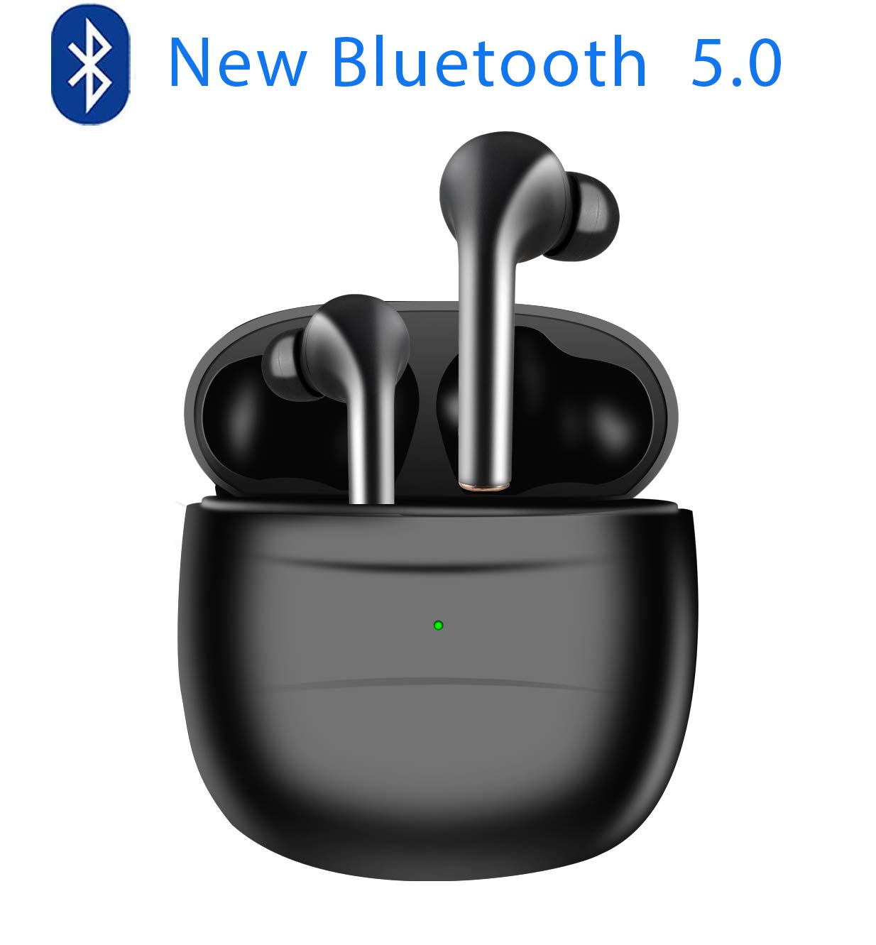 2020 New (blackpods) Bluetooth Wireless Headset, Bluetooth 5.0 Headset, Touch Control, with Charging Box, in Ear Sports Bluetooth Headset (Black)