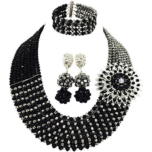 aczuv 8 Rows African Jewelry for Women Nigerian Beads Wedding Necklace Set Bridal Jewelry Sets (Silver Black) -