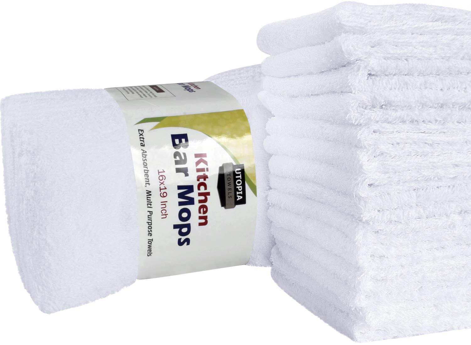 Utopia Towels 12 Pack Kitchen Bar Mop Towels 16 x 19 inches, White Bar Towels and Cleaning Towels
