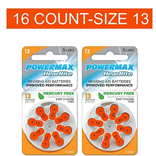 Powermax Size 13 Hearing Aid Batteries, Orange Tab, Zinc Air Mercury-Free, HearRite, 16 Count ()