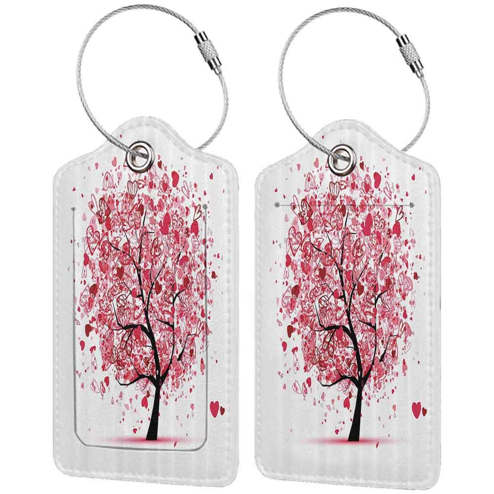 Decorative luggage tag Tree of Life Decor Collection Ornate Valentine Tree with Swirling Hearts Doodles Love Future Couple Decorative Suitable for travel Red Black W2.7 x L4.6