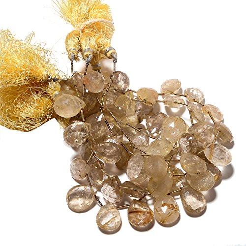 (8 Inch Strand, 14 Pcs, Golden Rutilated Quartz Pear Briolette Beads, 18x13mm To 17x12mm Beads, Sku-S37)
