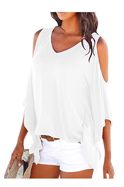 e2185d0392d937 Cutiefox Womens Off Shoulder Loose Batwing Sleeve Tee Shirt Top Blouse  White S
