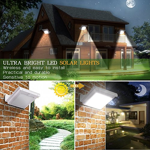 Dolucky Solar Powered Wall Lights - with 16 LED Motion Sensor Waterproof Outdoor Ambiance Lighting Black Lights - Great for Outdoor, Garden, Landscape, Pathway - 2 Pack