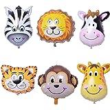 Krisah® Big Size (XL)6 pcs Animal Foil Balloons, Jungle Theme ( Lion, Tiger, Giraffe, Zebra, Monkey, Cow) (Big)