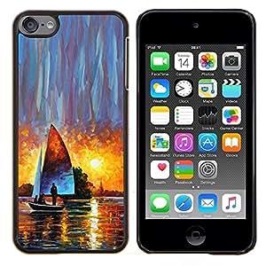 Dragon Case - FOR Apple iPod Touch 6 6th Generation - sailing ship sunset watercolor art sun - Caja protectora de pl??stico duro de la cubierta Dise?¡Ào Slim Fit