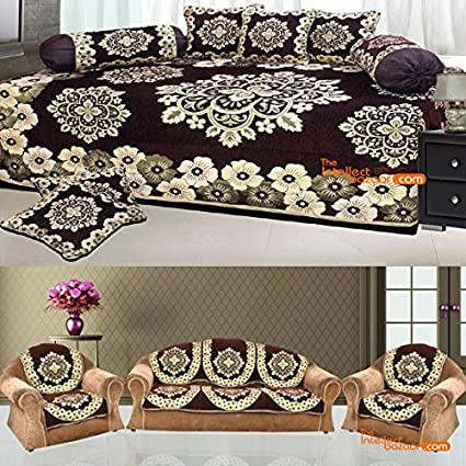 Outstanding Tib 450 Tc Chenille Velvet Diwan Set And Sofa Cover Combo Lamtechconsult Wood Chair Design Ideas Lamtechconsultcom