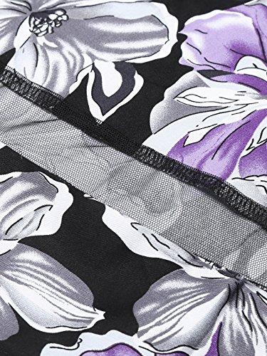 ... ACEVOG Damen 50s Vintage Rockabilly Kleid Festliches Kleid Blumenkleid  Partykleider Knielang mit Netzeinsatz Violett R7SXhQ 71761dda61
