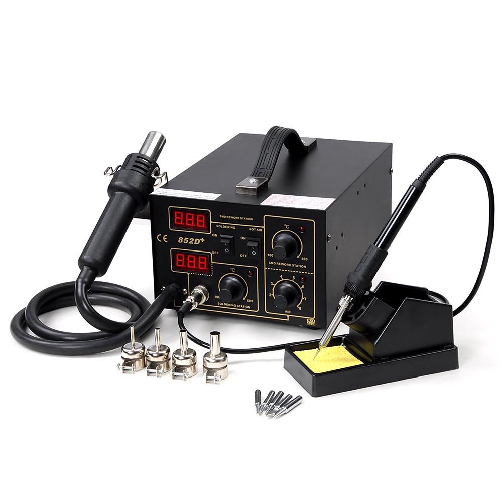 2in1 Lead-Free Soldering Station Hot Air and Iron 852d+ SMD Rework Station Digital Welding Tool with 4 Nozzle and 5 Tips