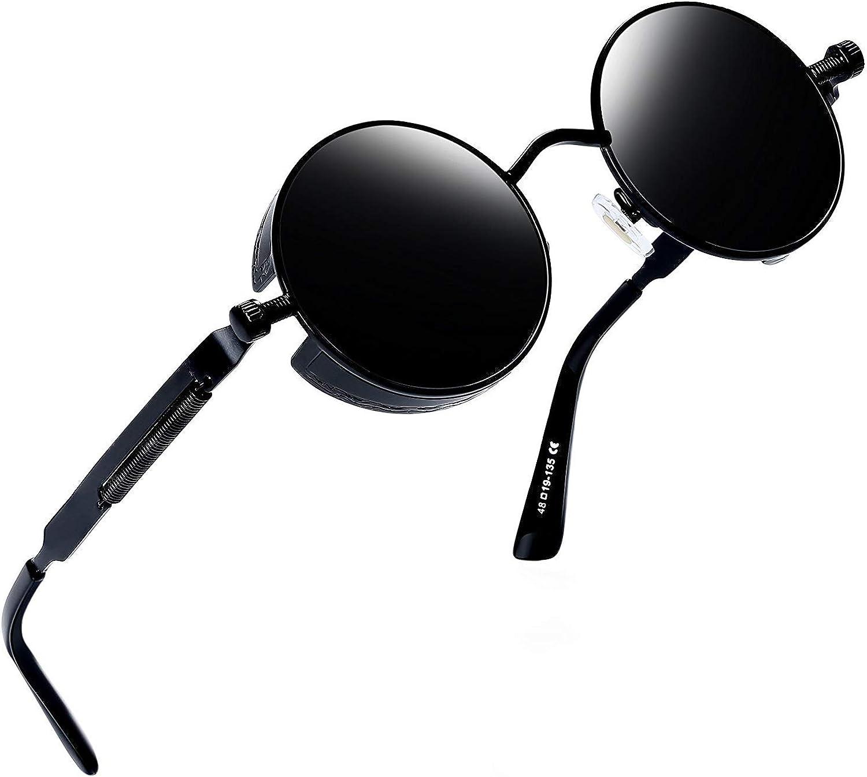 Joopin Polarizadas Redonda Gafas de sol Steampunk Retro Lennon Círculo Gafas de sol para Hombres y Mujeres E4056