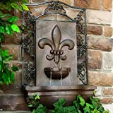 Sunnydaze French Lily Outdoor Wall Fountain, Iron, 33 Inch