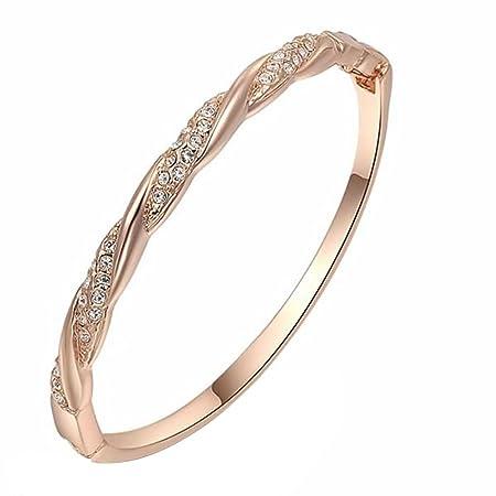 joyliveCY Elegant Stylish Hand Chain Charm Bracelet Women's Jewelry Rose Gold Plated Bling S Type Rhinestone tjGSyTG2K