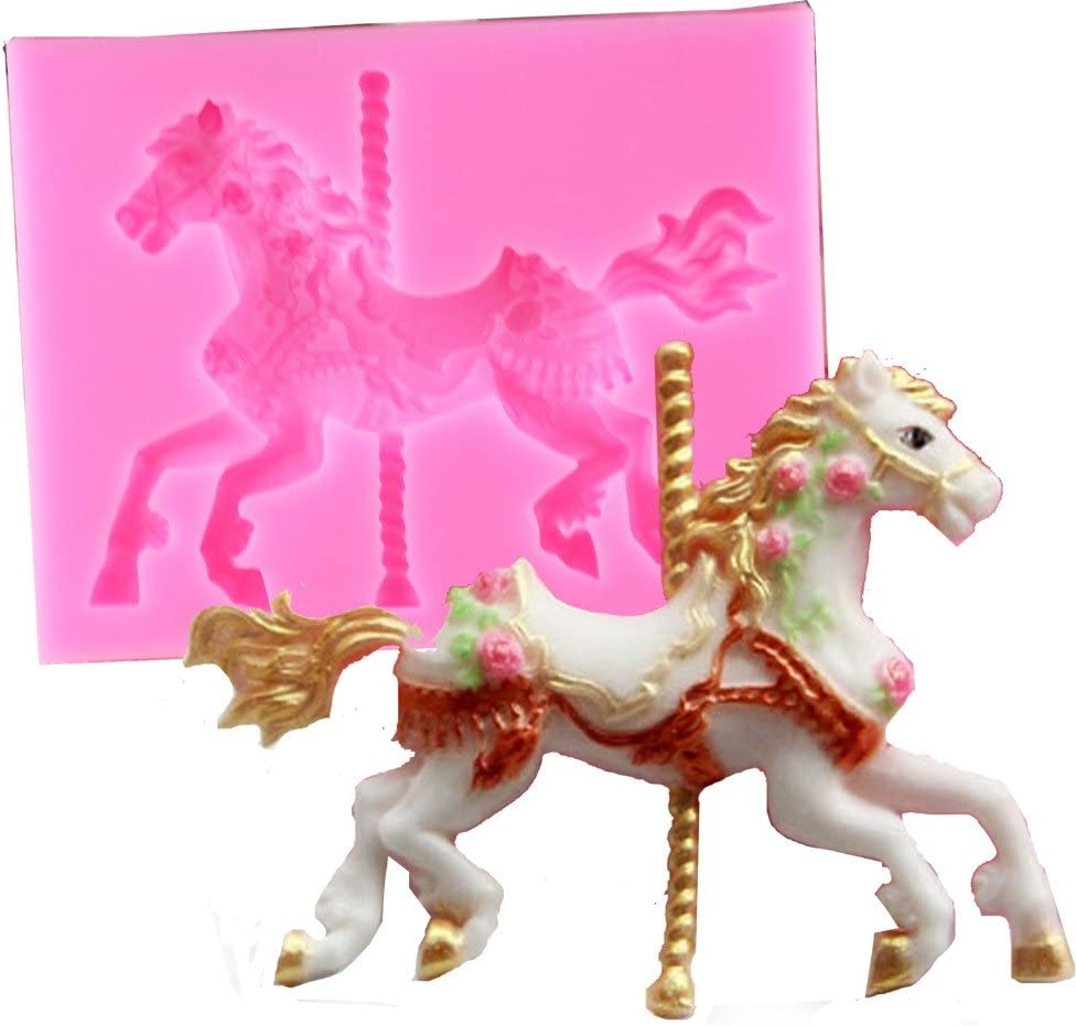 DIY 3D Animal Horse Carousel Silicone Cake Mold Fondant Soap Chocolate Mold