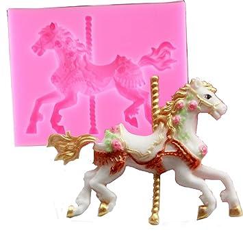 3D Carousel Horse stampo in silicone stampi da cucina cake ...